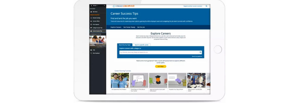 Cengage Career Success Tips homepage
